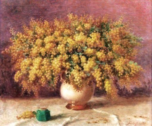 Giuseppe Perissinotto, Vaso de Flores, Óleo sobre tela, 60 alt X 70 larg (cm), acid