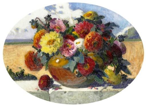 Henrique Cavalleiro (Brasil, 1892-1975) Vaso de flores   OST  53 x 73   1925