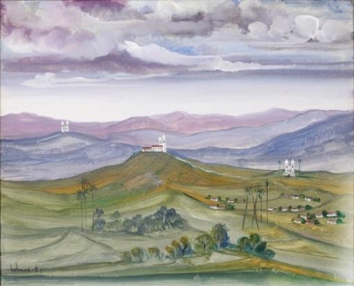 Holmes Neves - Paisagem Mineira - 1984 - O.S.T - a.c.i.e. - 50x61 cm - Medidas com moldura 53,5x64 cm