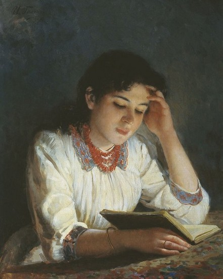 Ilia Galkin,(Russia, 1860-1915) Lendo, leitura