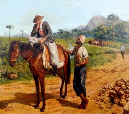 MALINVERNI FILHO, AGOSTINHO (1913 - 1971) - Paisagem de Catarinense com gaúcho, colonos e tropeiro, óst, 1,00 x 1,20. Assinado, datado (1939) e localizado (Santa Catarina)
