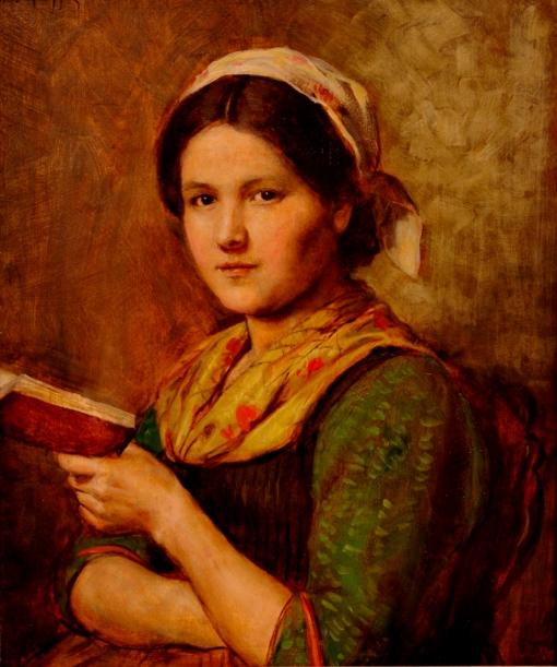 Menina lendo, c 1890.  osm, 63 x 50 cm ,Franz von Defregger