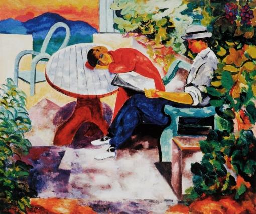 Moise_Kisling,_1916,_La_Sieste_à_Saint-Tropez,_Kisling_avec_Renée