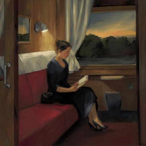 Sally Storch (EUA, 1952) Trem Nordeste ao crepúsculo, 2005, ost,75 x 75 cm