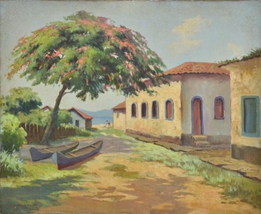 ANTENOR FINATTI (SÃO PAULO, 1923). Dia de Sol em Praia de Angra dos Reis, óleo s tela, 60 X 73. Assinado e datado (1959