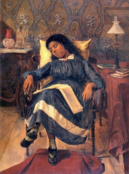 Antonio Rafael Pinto Bandeira (Brasil, 1863-1896) Jovem adormecida, 1891, ost, 83 x 62 cm, Museu Antonio Parreiras, Niterói