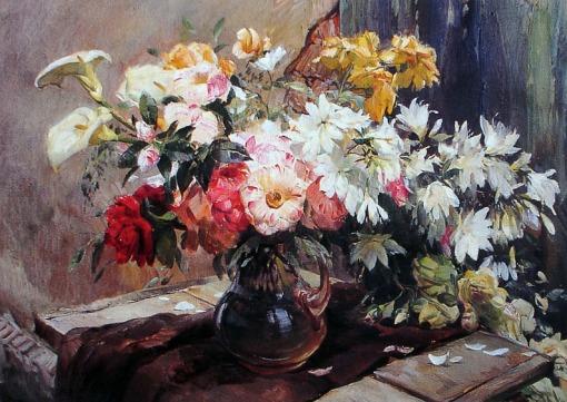 Arthur José Nísio (Curitiba PR 1906 - Curitiba 1974), Arranjo - Óleo sobre tela - 76 x 100
