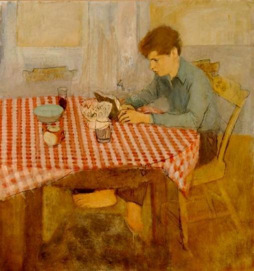 Fairfield Porter (EUA 1907-1975)Menino sentado à mesa com toalha de xadrez vermelha, 1960, 103x98 cm The Parrish Art Museum, Southampton, NY