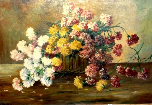 J. Bertoni Flores óleo s tela 69 x 100 cm. Ass. In. Esquerdo.