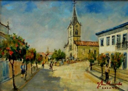 JOSÉ MARIA DE ALMEIDA (1906-1995)Igreja Matriz de Caxambú – MG, 1976,ost,33 x 46