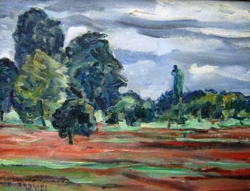 Ottone Zorlini (1891-1967) Piracicaba, 1966 Óleo sobre madeira 31,5 x 41,5 cm.