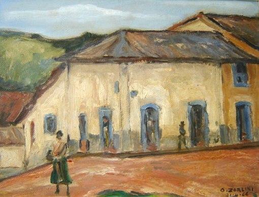 Ottone Zorlini (1891-1967)Santana do Parnaiba, Óleo sobre madeira,30 x 40 cm