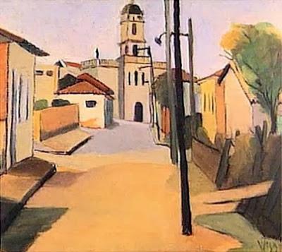 wega nery paisagem-de-santo-amaro 'PAISAGEM DE SANTO AMARO' 1951 - ÓLEO SOBRE TELA (50X60cm). BAIRRO PAULISTA ONDE MOROU WEGA NERY.