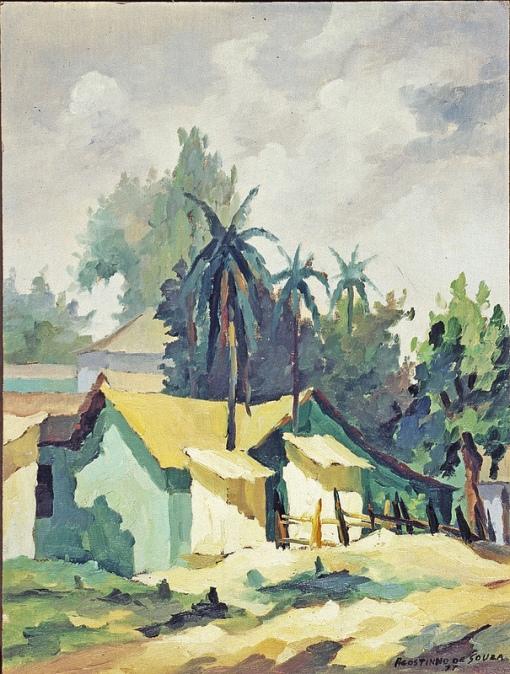 Agostinho de Souza (Brasil,1934) Paisagem, 1977, ost, 44 x 33cm, museu de arte de goiania