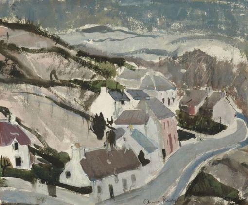 Anne Redpath (Escócia, 1895-1965), aquarela, Casas em Skye, 1965