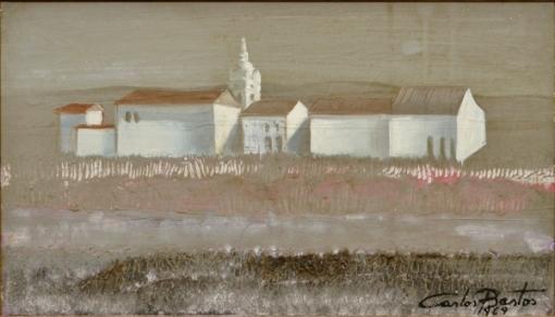 CARLOS BASTOS (1925 - 2004). Casario e Igreja no Campo, óleo s tela, 28 X 47. Assinado e datado (1969) no c.i.d