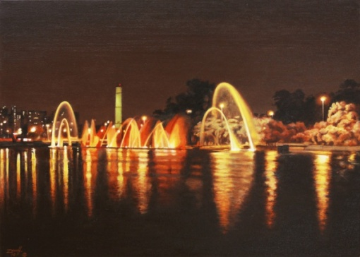Carlos Eduardo Zornoff - Fontes do Ibirapuera - Óleo sobre tela 50x70 cm - 2014 - Assinado no canto inferior esquerdo