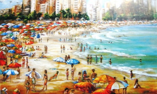 Castro Almeida (Brasil, 1941) Copacabana, Princesinha do Mar, at, 60 x 100 cm