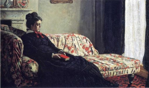 Claude Monet, Méditation. Madame Monet au canapé, Paris, Musée d'Orsay, 1871 c., oil on canvas,42 x 74,5 cm