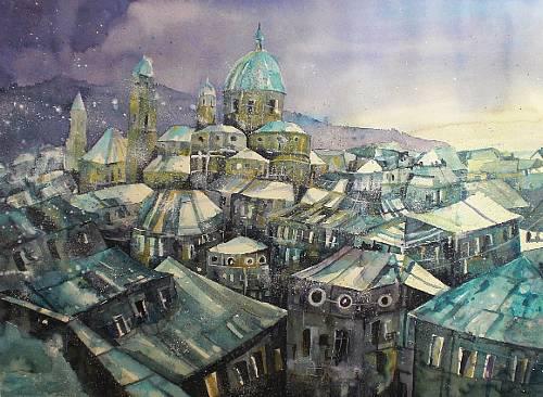 Conny-Architektur-Landschaft-Winter-Gegenwartskunst--Gegenwartskunst-