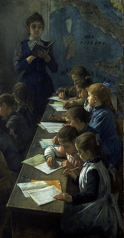 Demetrio Cosola, Il dettato (The dictation lesson), 1891, Torino, Galleria Civica di Arte Moderna e Contemporanea, pastel on canvas, cm 93x182