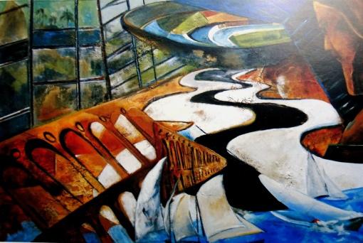 Do Karmo Ferreira (Brasil, 1942) Este é o Rio, Mista sobre tela, 100 x 180cm