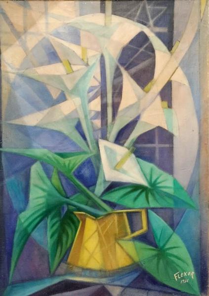 FLEXOR - óleo s tela, datado 1956, medindo 51 cm x 71 cm.