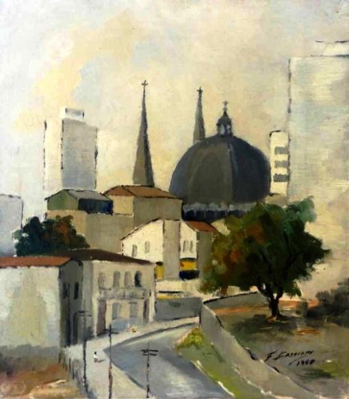 Francisco Cassiani - Centro de São Paulo - Óleo sobre tela - 41 x 33 cm - 1958