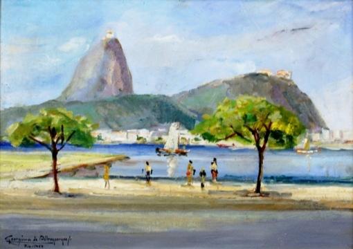 GEORGINA DE ALBUQUERQUE (1885 - 1962) Vista para o morro do Pão de Açucar, o.s.t. - 33 x 47. Assinado, localizado Rio e datado 1959