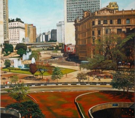 GUÉRATI, Velho correios e telégrafos Anhangabaú São Paulo Centro - Óleo sobre - 80x90 cm - ACID E VERSO 2007
