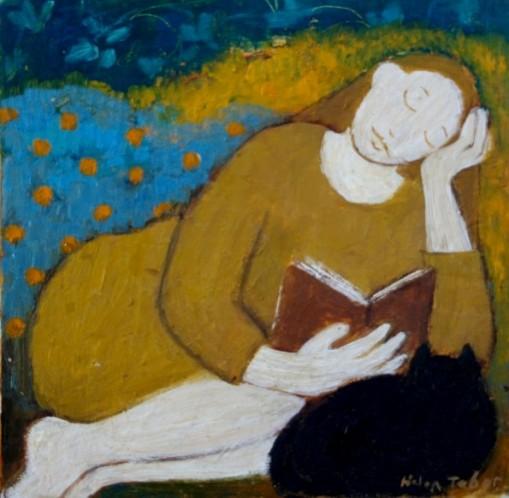 Helen Tabor (Escócia, contemp.) Lendo à tarde, ost, 25 x 15 cm