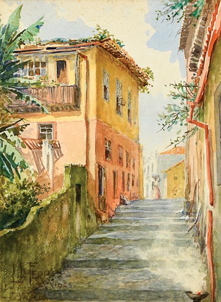 LIBINDO FERRAZ (1877-1951)Antigo Beco do Saputi-Bahia, aquarela, 33 X 25. Assinado, datado (1945) e localizado (Bahia)