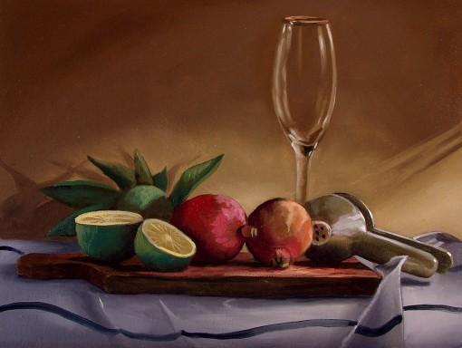pintura-a-oleo-sobre-tela-natureza-morta-com-romas-e-limoesMarcio Camargo,(Brasil, 1975), 2012,ost, 30x40cm, col part,wwwmarciocamargo.com.br, 30 x 40 cm