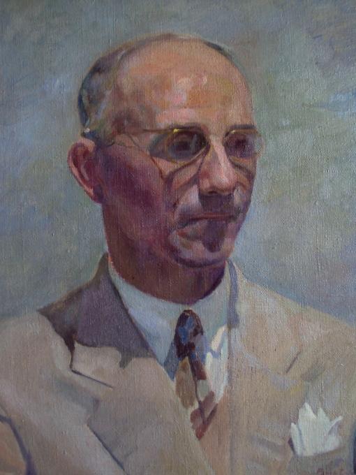 Rafael Falco (Argelia-Brasil, 1885-1967), Retrato do pintor Emílio Wolff, 1952,ost, 44x 36cm, Col. Part. Fabiano Wolff