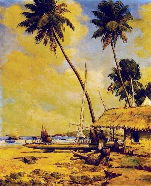 RUDOLF WEIGGEL - Vida de Jangadeiro, arredores de Olinda - Óleo sobre tela - 81 x 65 - Década de 50