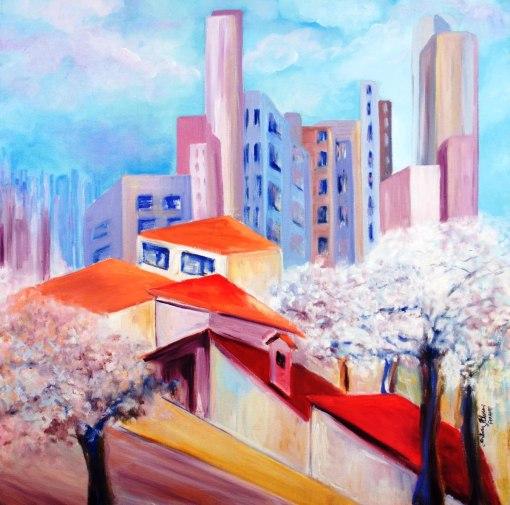 SILVIA ALVES - (Brasil, 1947)Primavera em São Paulo - óleo sobre tela - 80 x 80 cm - 2012