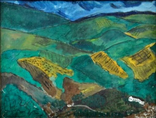 TOBIAS MARCIER (1948-1982). Paisagem Serrana com Casarios, aquarela, 28 x 37.