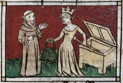 A queen, a monk, and a fabulous bag . Harley MS 4399, f. 22r