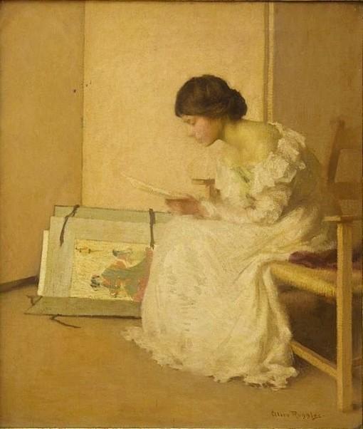 ALICE SOHIER-Lembranças,Alice Ruggles Sohier (EUA, 1880-1969),Óleo sobre tela, 65 x 55 cm, Coleção Particular