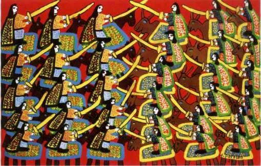 Cavalhada, Antonio Poteiro, 1980. Acrílica sobre tela, 90 x 140 cm
