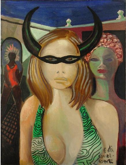 DI CAVALCANTI, Emiliano (1897-1976)Carnaval. Óleo sobre tela, 61 x 46 cm. Assinado embaixo 1972.