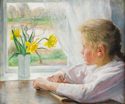 FANNY BRATE, (Suécia,1861-1940) Flicka à janela branca, 1907, ost,  46 x 55 cm.
