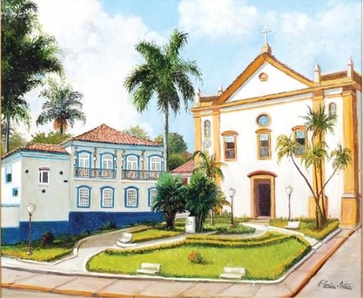 FERNANDO CORREA E CASTRO (1933)Sobrado e Igreja da Matriz em Bananal-SP,ost,50 X 60.