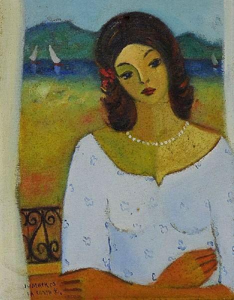 Humberto da costa (1948) Mulher na Sacada, o.s.t. - 27 x 22. Ass. dat 84