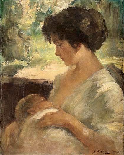 J.U. CAMPOS (Jurandir Ubirajara Campos) (Brasil, 1903-1972)Maternidade - óleo sobre tela - 71 x 58 cm - ass. dat. 1959 inf. dir.