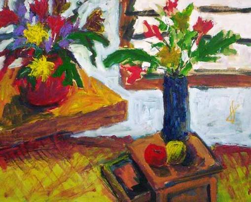 Jorge Franco (1955) Vasos de flores. Técnica mista sobre placa 100 x 80 cm.