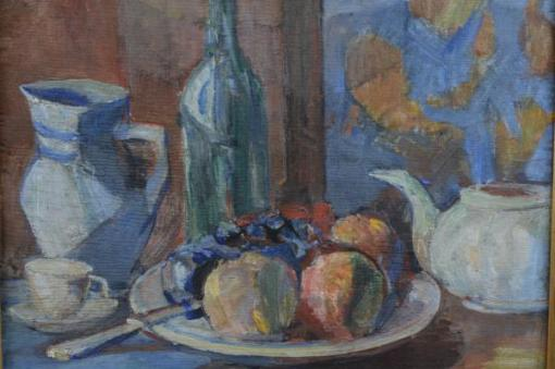 MANOEL SANTIAGO (1897 - 1987)Frutas sobre a mesa, o.s.m. - 37 x 45 cm. Ass. e dat. 1952 e localizado Rio.