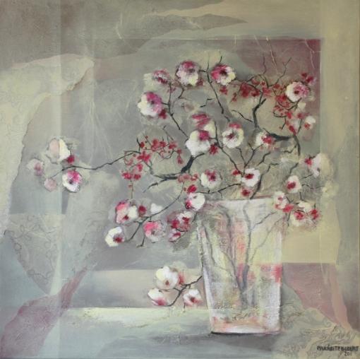MARÁ BITTENCOURT, (Brasil) Flor de cerejeira, 2011, Acrílica com colagens sobre tela, 70x70 cm