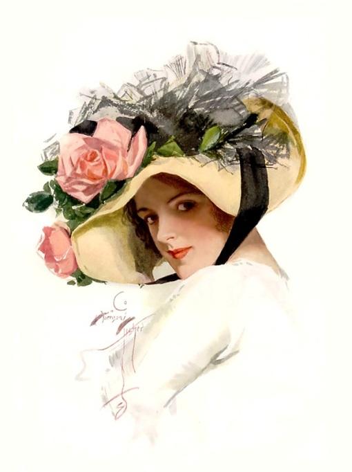 moça chapéu de palha Harrison Fisher (1875 - 1934)