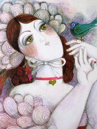 moça com passarinho, Jocelyne Pache, 1969